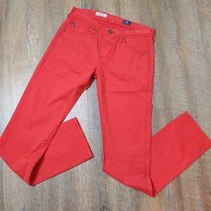AG matchbox slim straight red pants